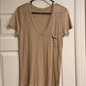 J Crew Gold Metallic Linen v-neck t-shirt